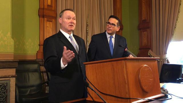 Iowa State Treasurer Michael Fitzgerald talks about his concerns that Republicans who control the Iowa Legislature will force changes in public employees' pension fundsing during the upcoming legislative session.