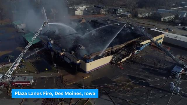 Drone video shows extent of Plaza Lanes fire damage
