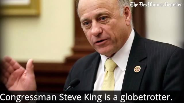 Iowa Congressman Steve King's controversial views on immigration and cultural preservation have been formed in part by world travel at taxpayers' expense.