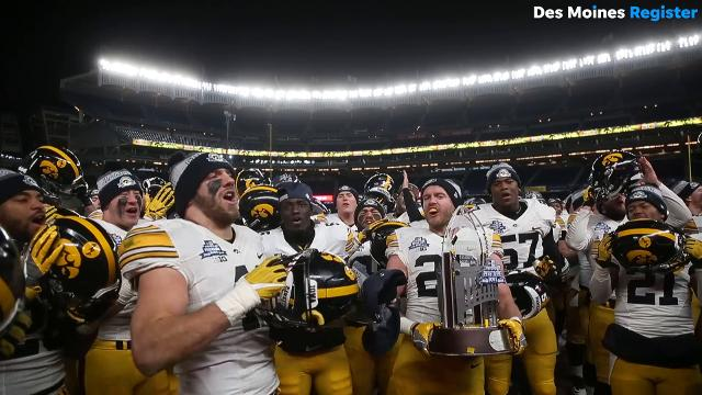 After a 27-20 win over Boston College in the 2017 Pinstripe Bowl, members of the Iowa Hawkeyes football team headed over to their fans.