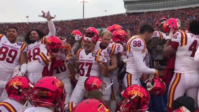 Stage collapses as Iowa State football players celebrate Liberty Bowl victory