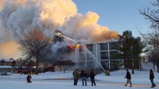 A building at the Plumwood Terrace complex caught fire on New Year's Day.