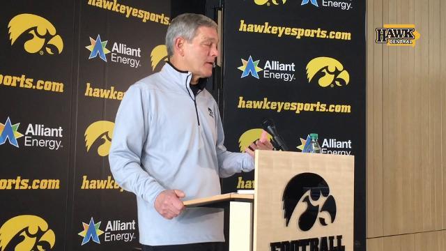 Ferentz speaks about Tyler Wiegers, who is headed to Eastern Michigan.