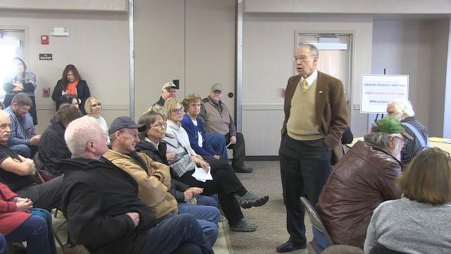 Sen. Chuck Grassley held a town meeting in Logan, Iowa, Friday morning. Several questioners asked about President Trump and his fitness for office.