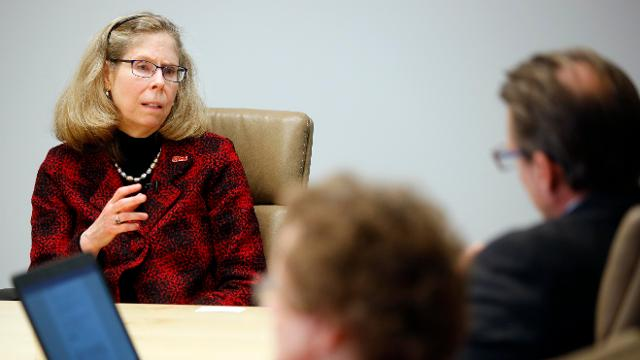 ISU President Wendy Wintersteen talks tuition hikes with the Des Moines Register editorial board.