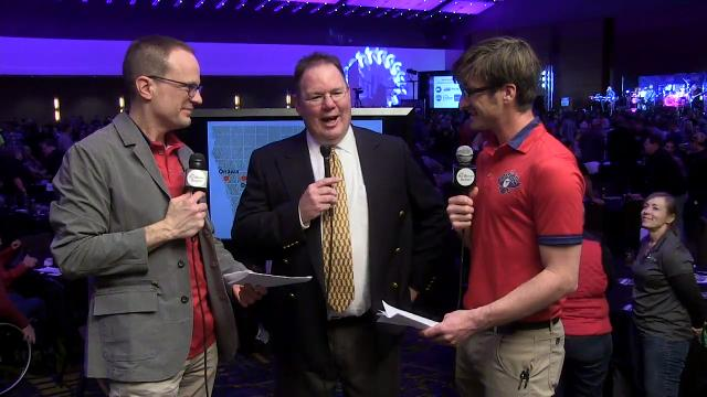 The Register's Kyle Munson and Brian Powers talk with RAGBRAI director T.J. Juskiewicz after the unveiling of this year's route at the RAGBRAI Announcement Party in Des Moines.