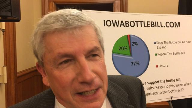 Rep. Andy McKean, R-Anamosa, says his proposal to expand Iowa's bottle deposit law has 40 co-sponsors, including Democrats and Republicans.