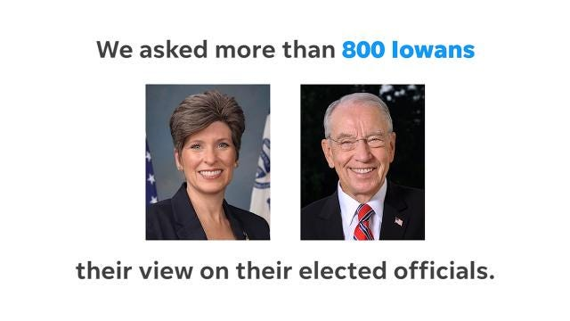 The latest Iowa Poll shows both Republican senators above water, but Ernst's approval numbers rise above her congressional colleague.
