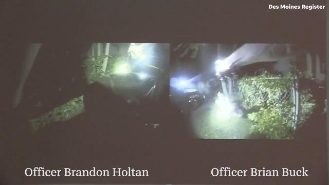 A side-by-side view shows body-camera footage from Des Moines police officers Brian Buck and Brandon Holtan as they chase Tiffany Potter around the back of a house and open fire after Potter pulled a gun July 5, 2017.