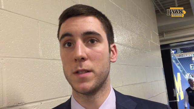 Connor McCaffery's two-sport plan at Iowa has become a zero-sport reality this school year, as he hasn't played much basketball or baseball after repeated illnesses. Here, he talks with Chad Leistikow while in Ann Arbor, Mich.