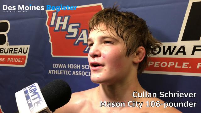 Mason City's Cullan Schriever won his second state title on Saturday night.