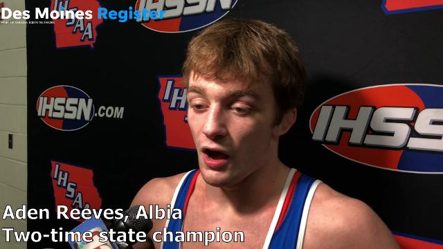 Albia's Aden Reeves talks after winning his second state title in Class 2A.