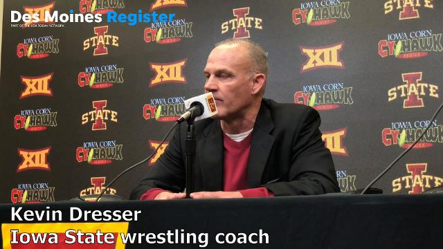 Iowa State wrestling coach Kevin Dresser talks to the media after Sunday's loss to Iowa.