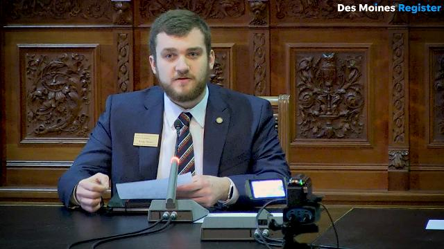 Iowa State University student Kody Olson implores legislators to reconsider cuts to state schools in the state budget.