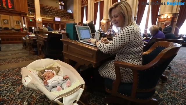 Rep. Megan Jones, R-Spencer, has been bringing her daughter, Alma, to the Iowa Statehouse since she was born Jan. 24, 2018 because she is too young for vaccinations and childcare.