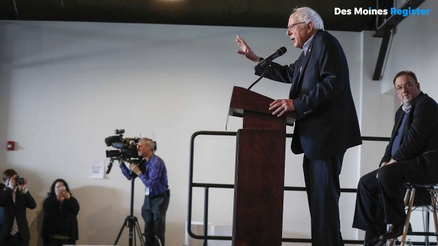 Former Democratic presidential candidate Bernie Sanders stopped by Des Moines to campaign on behalf of third congressional district candidate Pete D'Alessandro.