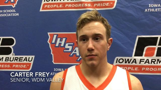 WDM Valley's Carter Frey discusses Class 4A semifinal loss to Cedar Falls at the Iowa state boys' basketball tournament.