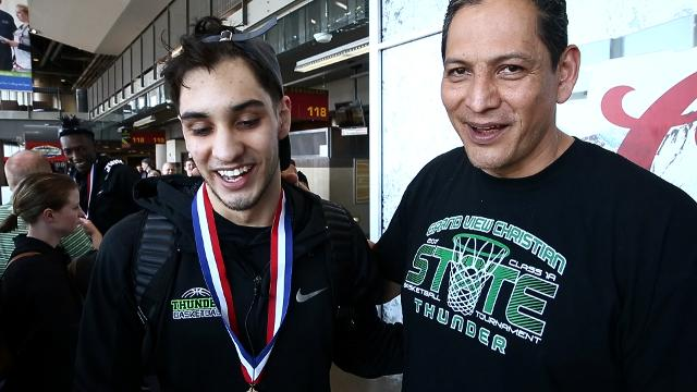 Arturo Montes Jr. hadn't seen his Dad in over a year. Arturo Montes Sr. flew in from Mexico to surprise his son and watch his team, Grand View Christian, play in the 1A state basketball championship.