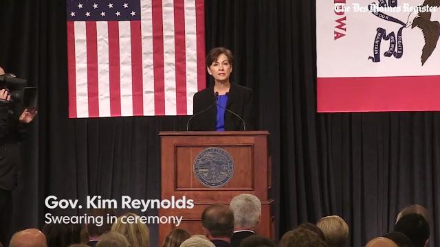 Newly sworn in Gov. Kim Reynolds says she's proud to be Iowa's first female governor, but wants to be known for more.