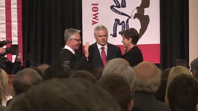 Watch as former Lt. Gov. Kim Reynolds takes the oath of office as the first female governor of Iowa.