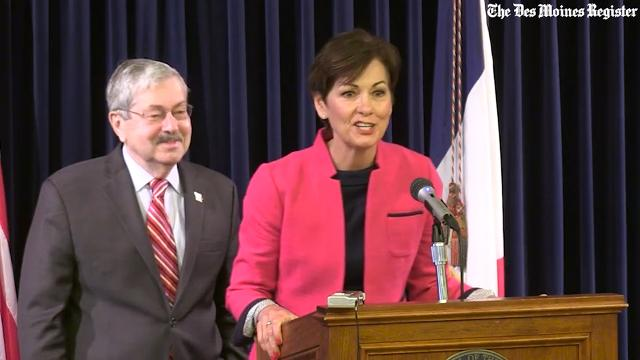 During Terry Branstad's last news conference as governor, Lt. Gov. Kim Reynolds thanked him for his service.