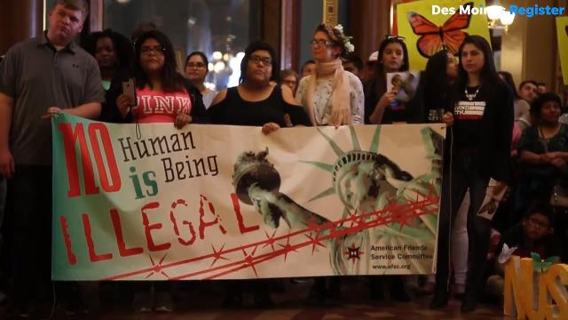 """Hundreds showed up at the Iowa Statehouse for a two-hour rally against a bill prohibiting so-called """"sanctuary cities."""""""