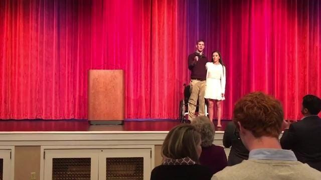 Chris Norton suffered a severe spinal cord injury in October 2010 while playing football for Luther College. With the help of his fiancee Emily Summers he stood at the end of a speech at Prairie Meadows during a fundraiser for his foundation SCI CAN.
