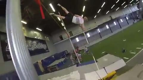 From 2016: See what it feels like to pole vault in this video shot with GoPros at a practice at Drake Fieldhouse.