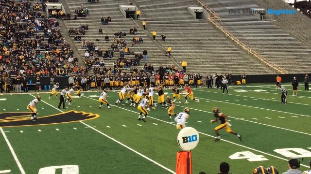 Jake Gervase intercepts Nate Stanley during Iowa football's 'spring game'