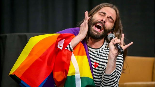 Netflix star Jonathan Van Ness gives a gag-worthy lip sync performance at the Iowa Governor's Conference on LGBTQ Youth in Des Moines, Iowa.