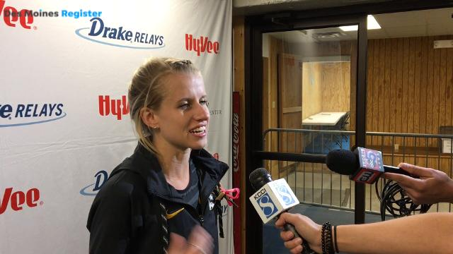 NCAA champion and former Dowling runner Karissa Schweizer reacts to record-breaking win at the 2018 Drake Relays.