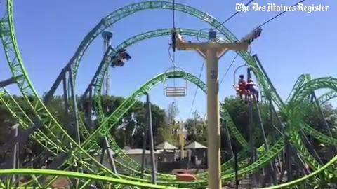 From 2016: Adventureland's newest, tallest, fastest roller coaster opened in 2016. On its first day a crowd of people sprinted from the entry gate to be among the first riders on the Monster.