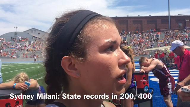 Southeast Polk's Sydney Milani ran two state girls' all-time bests Thursday.  She ran 52.90 in the 400 (record), which ranks No. 5 nationally, 23.93 in a 200 prelim (record) and qualified first in the 100.