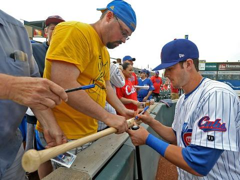 Third baseman Kris Bryant, a first-round pick by the Chicago Cubs in the 2013 MLB Draft, arrives for the first time at Principal Park in Des Moines after being promoted to Triple A and the Iowa Cubs.