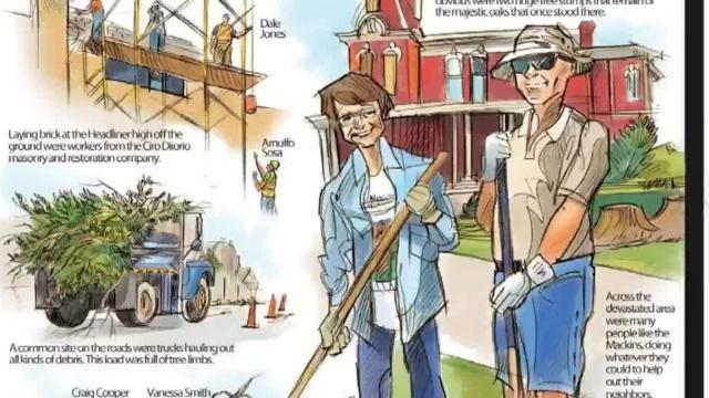 Mark Marturello sketches Marshalltown tornado clean-up