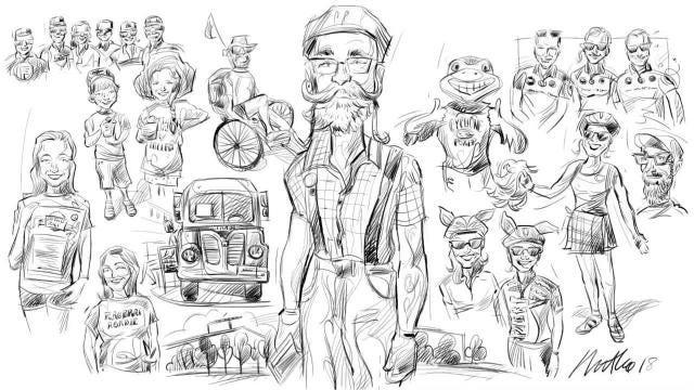 Mark Marturello sketches characters he met on RAGBRAI 2018