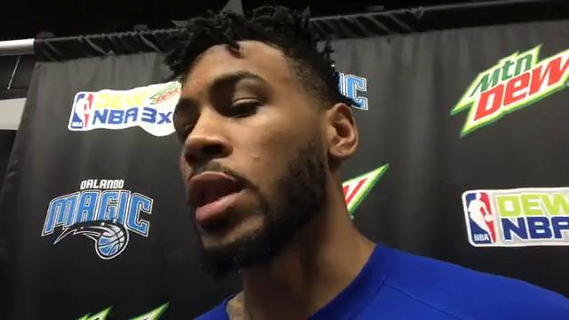 Center Eric Moreland after posting 15 points, six rebounds and four blocks in 103-78 Pistons win over Knicks on July 2, 2017 in Orlando Summer League.
