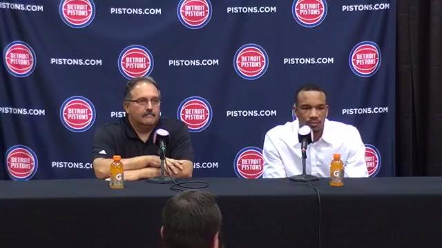 The Detroit Pistons introduced their newly acquired guard Avery Bradley at the Auburn Hills practice facility July 13, 2017.