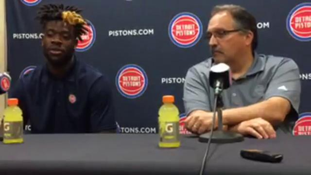 Pistons president/coach Stan Van Gundy praises swingman Reggie Bullock for his cutting, ball movement & defense, says team has played best with him on the floor at a news conference announcing Bullock's new contract on July 14, 2017 in Auburn Hills.