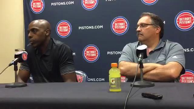 Pistons, Stan Van Gundy excited to have veteran forward Anthony Tolliver back with the team after his one season in Sacramento. Tolliver was introduced at the Pistons' Auburn Hills practice facility on July 14, 2017.