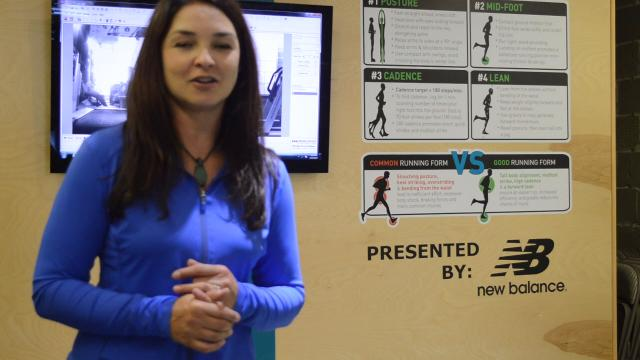 Toni Reese, operations manager for Running Lab in Brighton, takes viewers behind-the-scenes to explain how two high-speed cameras record a customer's gait on a treadmill to analyze their biomechanics, verify if the shoe is a good fit.