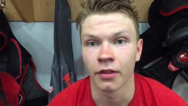 Detroit Red Wings prospect Vili Saarijarvi, a 3rd-round pick in 2015, is excited to play for Grand Rapids Griffins after a season in the OHL. Recorded at Wings development camp in early July in Traverse City.