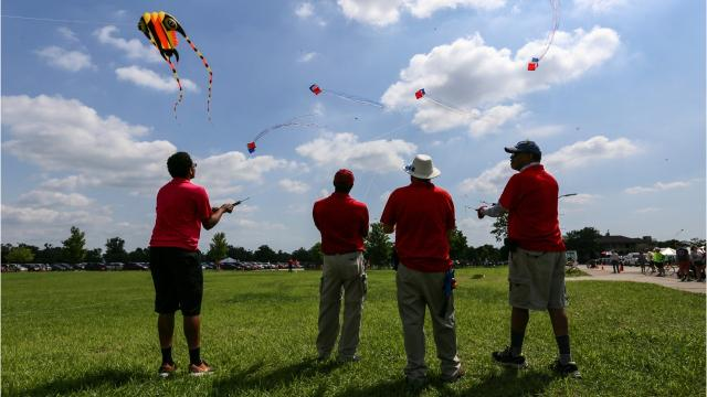 About 1,000 people came to Belle Isle for the inaugural Detroit Kite Festival. The free event was sponsored by the Detroit Institute of Arts, TechShop Detroit and the Detroit Public Library.