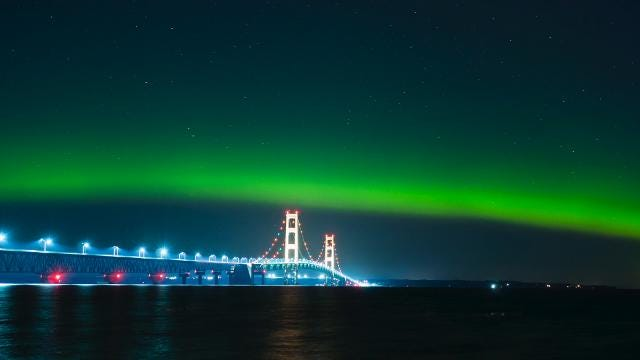A quick view of the aurora borealis phenomenon taking place over Michigan's Mackinac Bridge in the early morning hours of July 17, 2017. Video by Dustin Dilworth of D3 Imagery.