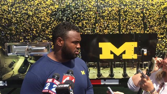 Michigan defensive lineman Maurice Hurst talks about the competition with AS Roma players Monday in Ann Arbor. Video by Brandon Folsom/Special to DFP