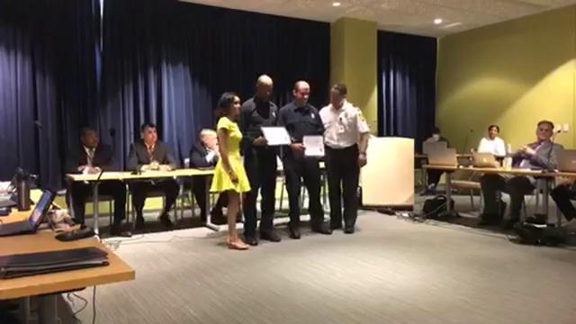 The Detroit Fire Department honored two Detroit medics July, 18, 2017, for delivering and reviving a premature infant in June. Hasan Dudar/Detroit Free Press