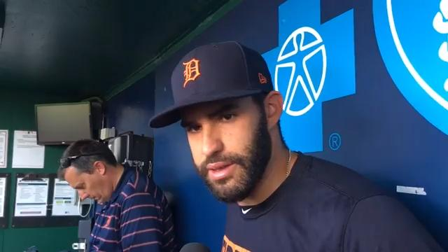 Tigers rightfielder J.D. Martinez reacts to being dealt to the Diamondbacks, says Detroit is home to him. Recorded July 18, 2017 in Kansas City.