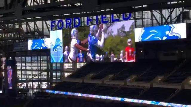 A display of the Lions' new video boards, part of their $100-million Ford Field renovations, on July 19, 2017. By Carlos Monarrez, DFP.