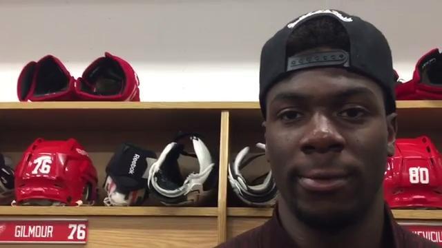 Detroit Red Wings prospect Givani Smith talks during development camp in early July at Centre Ice Arena in Traverse City. Video by Helene St. James, DFP.