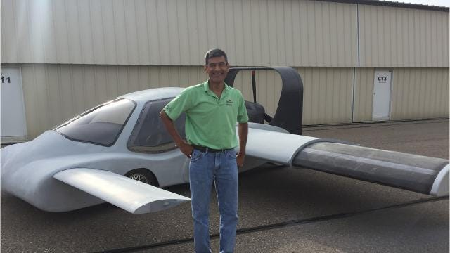 Engineer Sanjay Dhall is building a flying car in suburban Detroit and hopes to test-fly it next summer.
